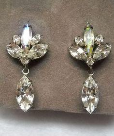 Aurora Borealis Rhinestone Pierced Earrings from Suzette's Treasures on Ruby Plaza
