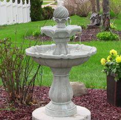 Garden Water Fountain Solar Powered Two Tier Fountains Outdoor Backyard Warranty