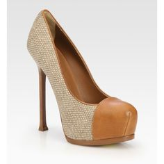 YSL tweed and leather platform pumps