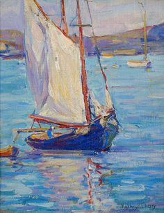 """""""Gloucester Harbor,"""" Kathryn Evelyn Bard Cherry, ca. 1920, oil on canvas mounted on board, 11 x 14"""", private collection."""