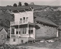 """Aug 13, 1937 Albion Lumber Company [false-front building, sign for """"Happy Valley""""] by Edward Weston"""