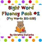 Pack #2 includes the SECOND 100 Fry Words (Words 101-200).  This sight word fluency pack contains 34 fluency sentences, coordinating flash cards, a...