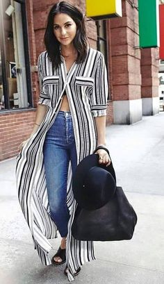 Le Fashion Black And White Striped Maxi Shirt Dress Fall Street Style Inspo Mode Outfits, Casual Outfits, Long Shirt Outfits, Formal Outfits, Dress Outfits, Look Fashion, Womens Fashion, Fashion Tips, Fashion Brands