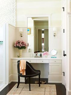 Built in vanity! Simple and chic. Idea from Better Homes and Gardens. #laylagrayce #vanity #bathroom