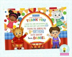 Daniel Tiger Birthday Thank You Card - Personalized Thank You Card Design - Style #02
