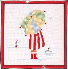 Rue du Port - Broderie à points comptés - Broderie - Parapluie fille Cross Stitch Sea, Cross Stitch Family, Cross Stitching, Cross Stitch Embroidery, Cross Stitch Patterns, Rue Du Port, Stitch 2, Plastic Canvas, Needlework