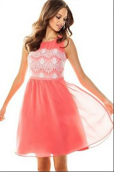 coral dress with lace detail on bodice