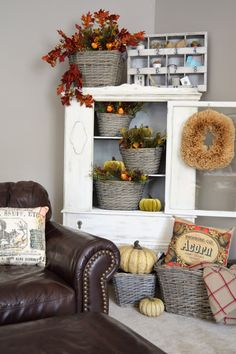 Fall is quickly approaching and we have the perfect decor for your home. It starts with any one of our basket collections. These multi-talented, natural and rustic baskets have a myriad of uses for any room in your home. These sets offer handles on each side and come in a nesting set of 3. Fill them with any of our wide selection of faux foliage to bring in fall color, or use them for conspicuous storage with style! Can you tell I'm hiding games, doggie toys or remote controls in there?