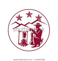 Icon retro style illustration of cowboy or rustler drinking coffee by campfire with hills and three stars set inside circle on isolated background. Drinking Coffee, New Pictures, Retro Style, Retro Fashion, Create Yourself, Royalty Free Stock Photos, Retro Illustration, Stars, Retro