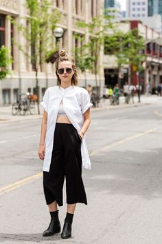 Too hot? Cuff your sleeves and unbutton your top all the way up, except for the top button (just remember to wear a sporty bra or crop top underneath). This'll make those streetcar rides way more bearable.  #refinery29 http://www.refinery29.com/toronto-street-style-summer-2016#slide-1