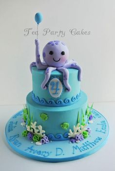 Birthday cake that I made for my friend's baby group that was celebrating their birthdays. 6 and 8 inch buttercream cakes with fondant decorations and white chocolate coral. I was running out of time getting this one done so I ended up piping. Ocean Cakes, Beach Cakes, Octopus Cake, Nautical Cake, Mermaid Cakes, Buttercream Cake, Cake Fondant, Love Cake, Pretty Cakes