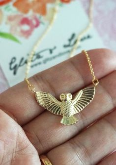 Flying Owl pendant on gold plated chain.  Night owl. Nature inspired. Animal lover. Night owl bridesmaid.