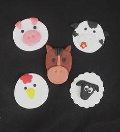 Farm animal cupcake toppers (Cupcakes available at SweetArt) Farm Animal Cupcakes, Sweetarts, Themed Cupcakes, Edible Cake, Cupcake Toppers, Farm Animals, Fondant, Icing, Cake Decorating