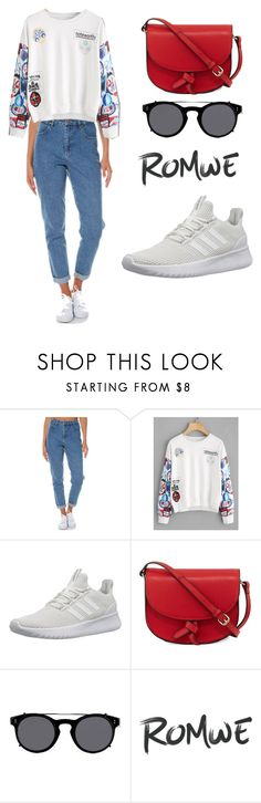 """""""ROMWE Sweatshirt"""" by tania-alves ❤ liked on Polyvore featuring Wrangler, adidas NEO, KC Jagger and Valentino"""