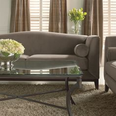 classic beige sofa, glass table and hydrangea