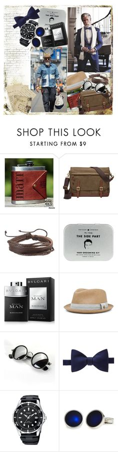 """That man"" by megalyssa ❤ liked on Polyvore featuring FOSSIL, Zodaca, Men's Society, Bulgari, rag & bone, WALL, Turnbull & Asser, BOSS Hugo Boss, men's fashion and menswear"