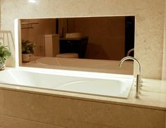 Bronze Mirror inset in bathroom interior design - Gardner Glass Products