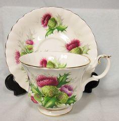 "~ Pretty Royal Albert ""Highland Thistle"" Bone China Cup Saucer | eBay ..."