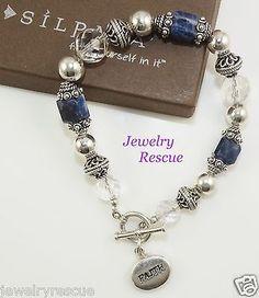 Silpada-Faith-Bracelet-Sodalite-Crystal-925-Sterling-Silver-B0987-RARE