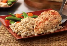 Chicken and rice paired with a creamy mushroom sauce bake together for a delicious one-dish meal that's easy to make and easy to clean up.