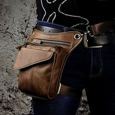 Mens Genuine Leather Messenger Hiking Waist Hip Bum Pack Climbing Drop Leg Bag