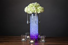 DIY Centerpiece with Flowers Hydro Orbs and Candles