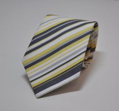 Gray and Yellow Necktie for Men or Boy's Striped by MeandMatilda, $24.95