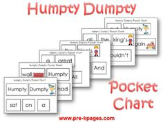 Humpty Dumpty nursery rhyme literacy and math printables for your pre-k, preschool or kindergarten classroom. Humpty Dumpty Nursery Rhyme, Nursery Rhyme Party, Nursery Rhyme Crafts, Nursery Rhymes Preschool, Preschool Literacy, Kindergarten Reading, Literacy Work Stations, Pre K Pages, Pre K Activities
