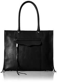 ... Rebecca Minkoff Side Zip Medium Mab Tote Bag, Black Leather Tote - Polo ...