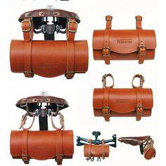 Naborsa bike Leather bag for seat or handlebar- Kate Arends- Velo Retro, Velo Vintage, Retro Bike, Leather Bicycle, Bicycle Bag, Cool Bike Accessories, Leather Accessories, Leather Tooling, Leather Bag