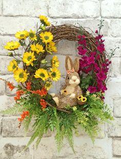 Easter Bunny Wreath, Easter Wreath, Bunny Rabbit Wreath, Easter Decor, Spring Wreath Spring Decor, Door Decor, Spring Door Wreath, Garden Rabbit Wreath, Silk Floral Wreath, Front Door Wreath, Wreath on Etsy, by Adorabella Wreaths!