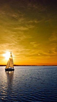 sailboat, sunset