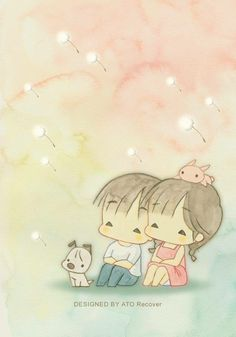 Chibi Couple, Cute Couple Cartoon, Cute Cartoon, Beautiful Moon, Beautiful Artwork, Cute Images, Cute Pictures, Precious Moments Coloring Pages, Cute Love Stories