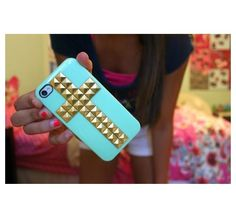 Cute iPhone cases with studded cross and with a beautiful turquoise backround!~Narine+Leah!