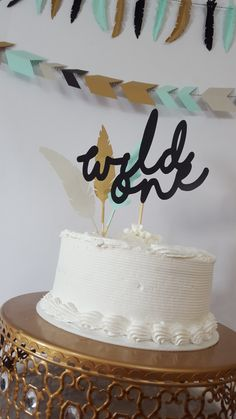 Tribal Wild One Feather First Birthday Party Cake Topper by eventprint on Etsy