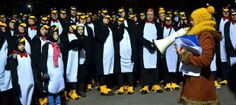 The largest Gathering of People Dressed as Penguins at Wood Wharf, London - The Independent