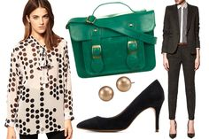 Full Circle Polka Dot Pussy Bow Shirt, $68.93 (originally $125.34), available at ASOS. Miss Selfrige Bright Green Satchel, $57, available at Miss Selfridge. Carolee Earrings Gold Glass Pearl Stud, $28, available at Macy's. Mango Leather Pumps, $44.99 (originally $89.90), available at Mango. Zara Blazer with piping and pocket, $89.90, available at Zara. Zara Trousers with Turn Ups, $59.90, available at Zara.