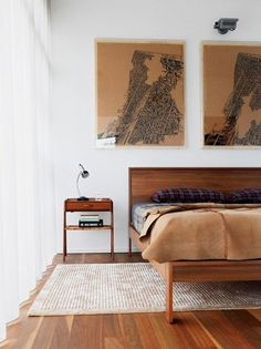graphic impact, brown, clean, simplicity, bedroom, art from: Hermit