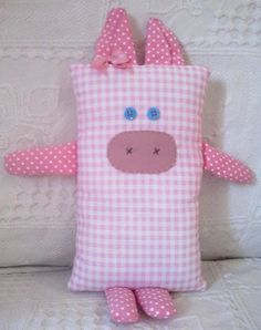 Cute Pillows, Baby Pillows, Kids Pillows, Felt Animal Patterns, Stuffed Animal Patterns, Sewing Toys, Sewing Crafts, Quilting Projects, Sewing Projects
