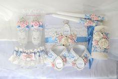Купить Свадебный набор с коронами и ангелочками1 - розовый кварц, безмятежность, свадебные аксессуары, свадебный набор