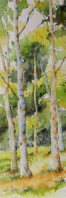 (Watercolor) Birch trees by Cristina Dalla Valentina. watercolor on paper. Art Aquarelle, Watercolor Pictures, Watercolor Trees, Watercolor Landscape, Watercolour Painting, Landscape Art, Watercolours, Watercolor Portraits, Landscape Paintings