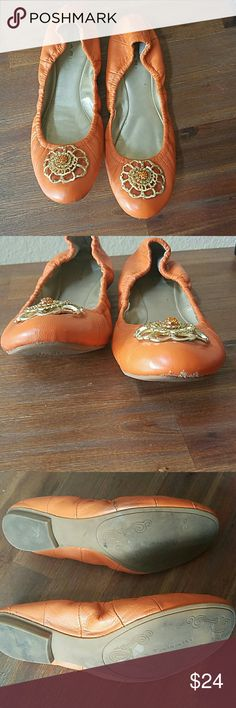 Tahari Vanna orange leather ballet flats Supple leather and the perfect shade of orange, pair with dark skinnies for an effortless look. Please see photos for wear. ? Tahari Shoes Flats & Loafers