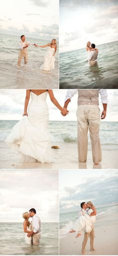 I couldn't destroy my wedding dress, but a great idea for the engagement pictures!!!