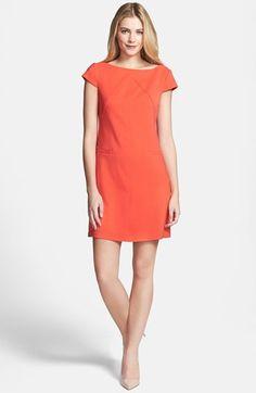 $138, Orange Shift Dress: Eliza J Seamed Crepe Shift Dress Orange 6. Sold by Nordstrom. Click for more info: https://lookastic.com/women/shop_items/228627/redirect