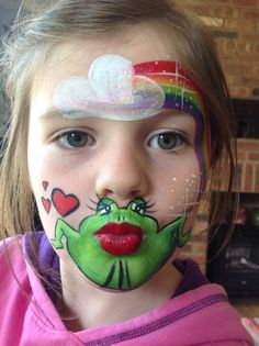 Kissing frog face painting by Eleanor Ross @ Spectrum Face Painting & Body Art