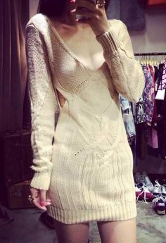 White Apricot Cut Out Sweater Dress @ Lookbook Store $40