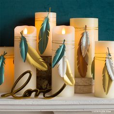 Looking for some easy boho chic accents to add to your living space? Learn how to make these paper feather candle wraps in less than 10 minutes!