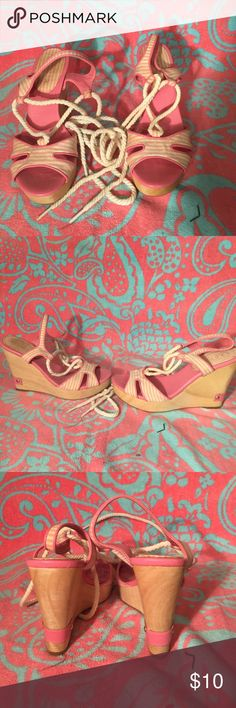 Size 5.5 Ralph Lauren pink and white strip wedges shoes have been worn and look a little dingy from sitting on my shoe rack for so  long.  Tie up ankle with a very high wedge wooden heel.  Lauren is stamped on the back of the heel and into the bottom of the shoes. Lauren Ralph Lauren Shoes Wedges