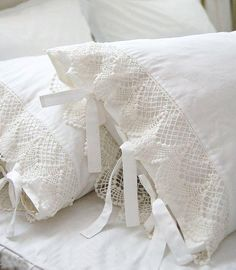 add crochet lace and ties to pillow cases