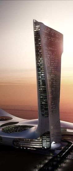 Ras Al Khaimah Gateway Tower, UAE designed by Snøhetta Architects :: height 200m